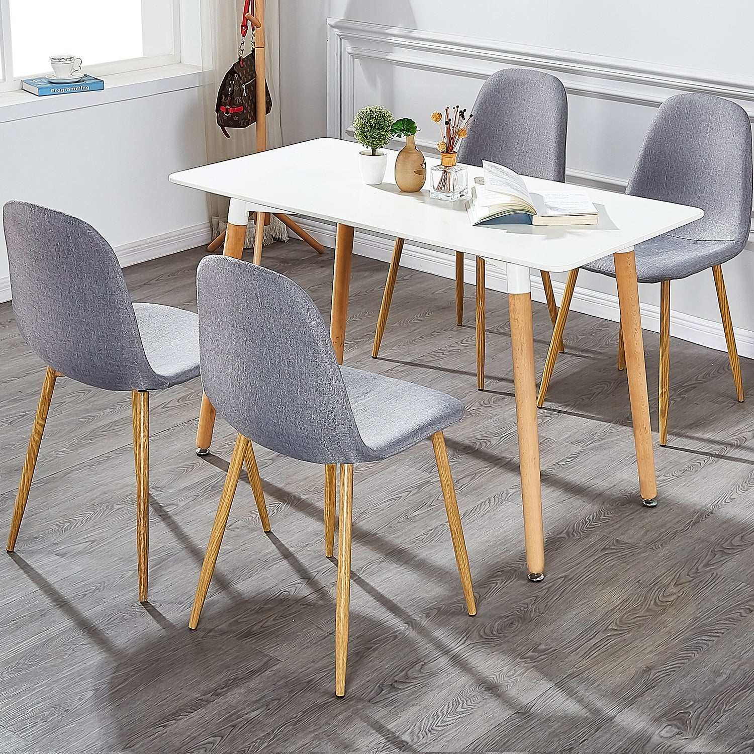 Vecelo Kitchen Dining Chairs Sets Fabric Cushion Seat Back Set Of 4 Overstock 14125107