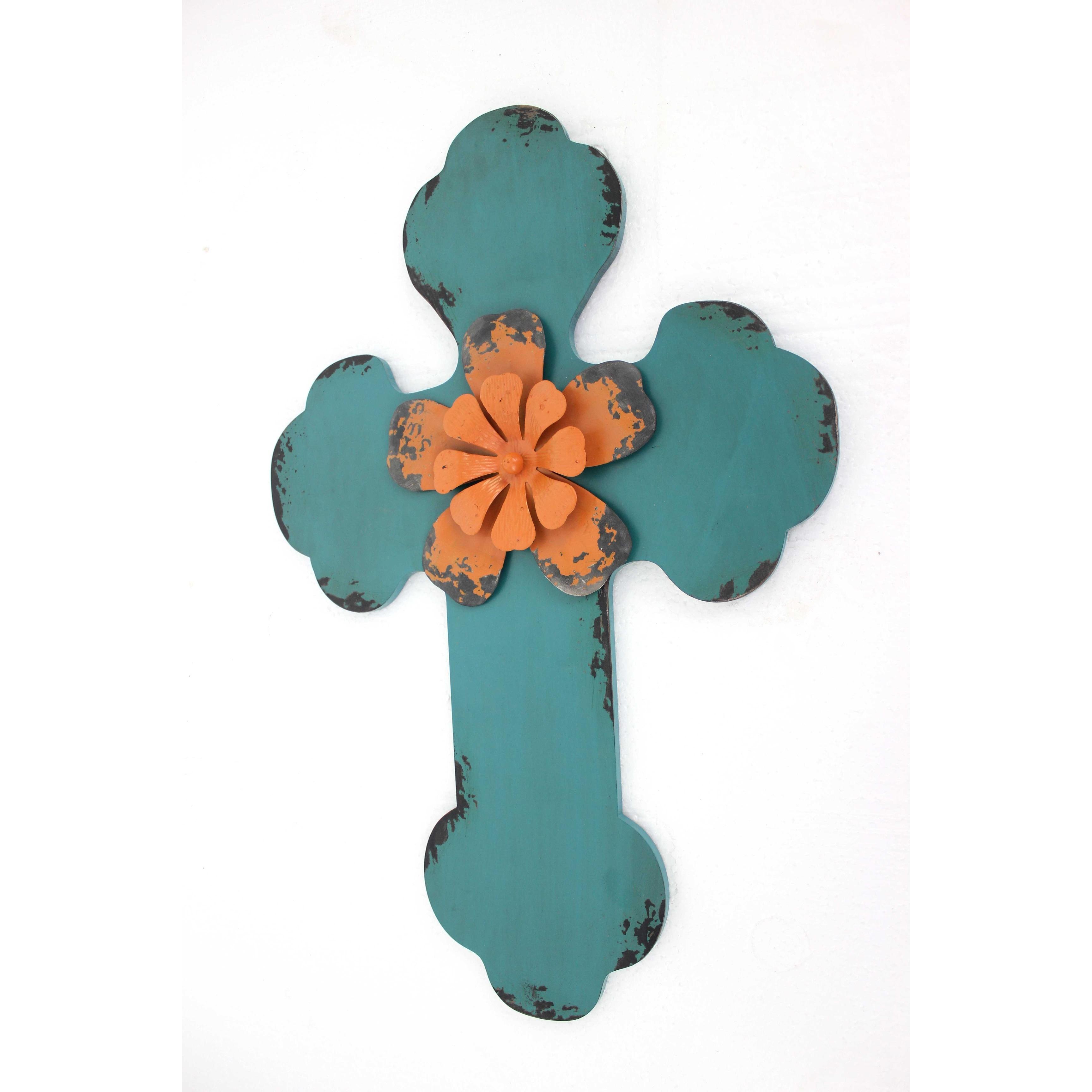 Rustic Blue Cross Wooden Wall Decor