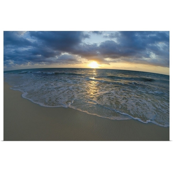 """Mexico, Yucatan, Riviera Maya, Cancun, Seascape at sunset"" Poster Print"