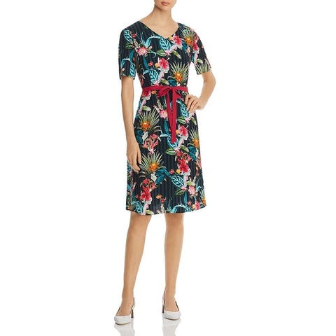 Basler Womens Casual Dress Floral V-Neck - Navy
