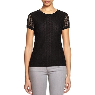 Three Dots Womens Casual Top Lace Tencel