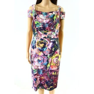 Nicole Miller NEW Purple Womens Size 8 Floral-Print Sheath Dress