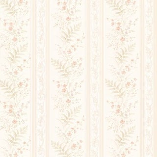 Brewster 347-20144 Bell Peach Wildflower Stripe Wallpaper