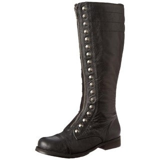 Kensie Womens Jean Leather Studded Motorcycle Boots - 7 medium (b,m)