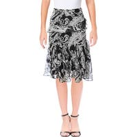 Lauren Ralph Lauren Womens Tiered Skirt Chiffon Printed