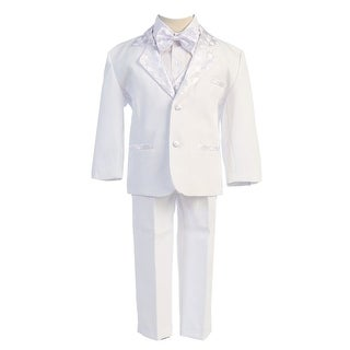 Angels Garment White 5 Piece Satin Vest Tuxedo Baptism Set Boys 3M-4T