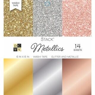 "Dcwv Single-Sided Cardstock Stack 6""X6"" 14/Pkg-Washi Metallics Glitter & Foil"