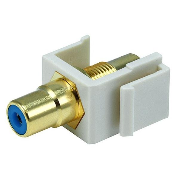 Monoprice Modular RCA Coupler Keystone Jack w/Blue Center - Ivory
