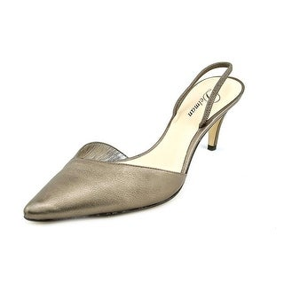 Delman Laci Women Pointed Toe Leather Gold Slingback Heel