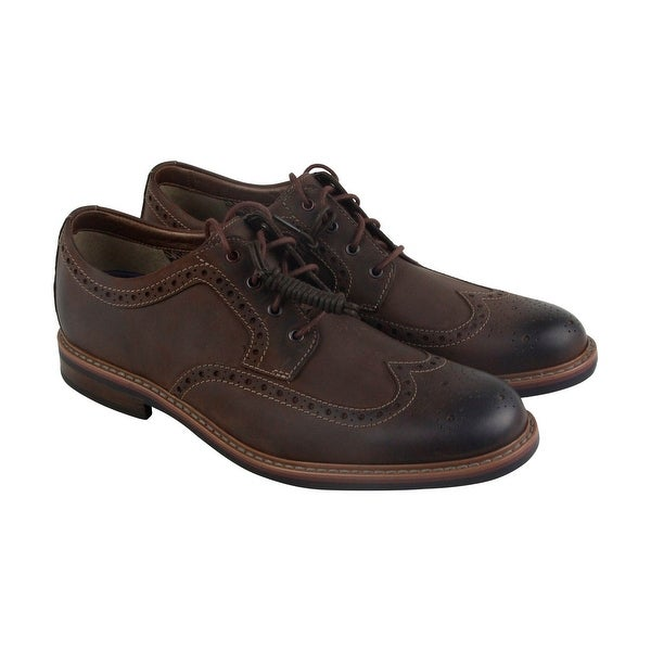 Clarks Armon Wing Mens Brown Leather Casual Dress Lace Up Oxfords Shoes
