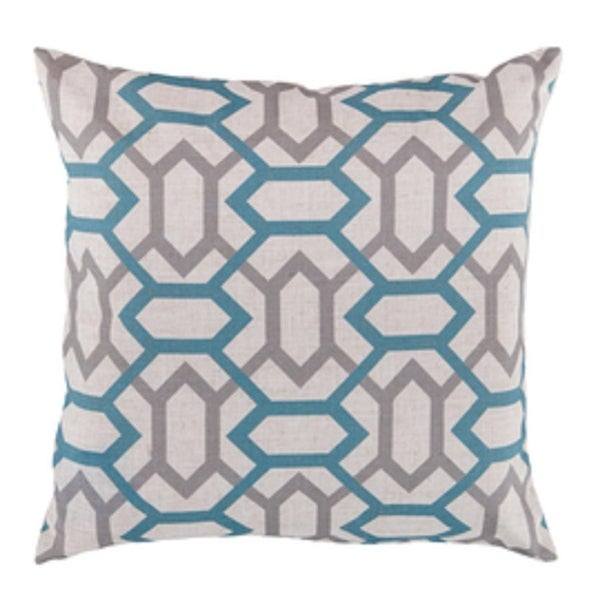 "22"" Winter Cloud Gray and Indepdence Blue Geometric Gems Decorative Throw Pillow - Down Filler"