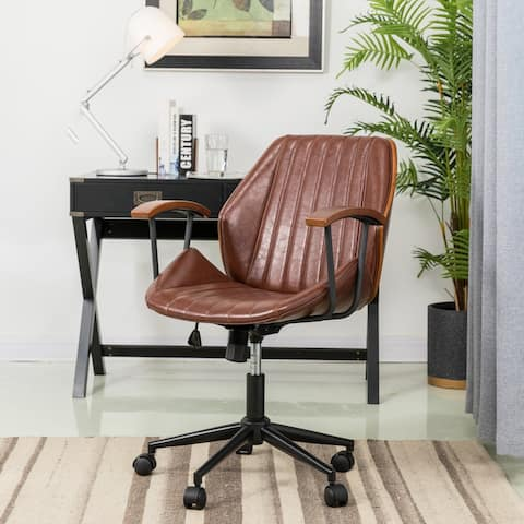 "Glitzhome 38""H Leatherette Adjustable Swivel Desk or Task Chair"