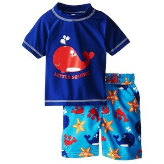 iXtreme Toddler Boys Whale Squirt Short Sleeve Rash Guard 2Pc Set Swim Trunk