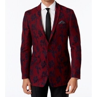 Tallia NEW Red Mens Size 38 Floral-Print One Button Closure Sport Coat