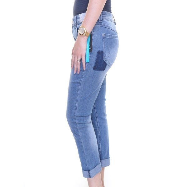INC International Concepts Plus Size Embroidered Indigo Wash Cuffed Jeans