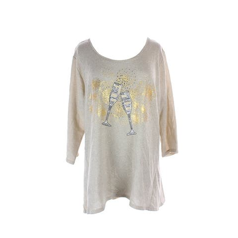 Style & Co. Plus Size Beige Metallic Graphic Tunic Sweater 0X
