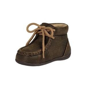 Double Barrel Western Shoes Boys Gavin Laced Moc Toe Oilskin