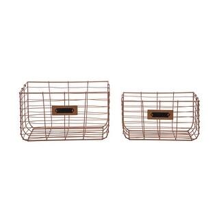Foreside Home & Garden Set of 2 Copper Wire Metal Decorative Storage Baskets