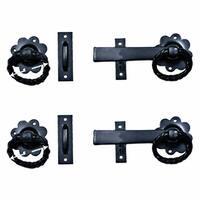 2 Wrought Iron Gate Latch Floral Pattern Black Rustproof 6 | Renovator's Supply