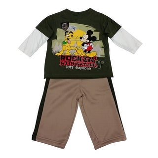 Disney Little Boys Khaki Mickey Pluto Print Twofer Sleeve 2 Pc Pant Set