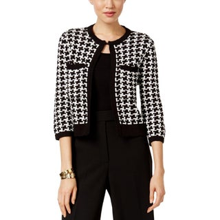 Anne Klein Womens Cardigan Sweater Houndstooth Open Front - L