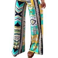 QZUnique Women's Various Printed High Waist Baggy Bohemian Loose Leg Pants