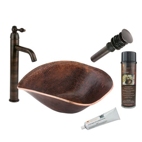 Premier Copper Products BSP1_PVSHELL17 Vessel Sink, Faucet and Accessories Package
