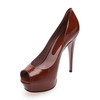 Gucci Women's Patent Leather Peep Toe Platform Brown