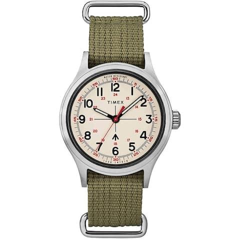Timex Men's TW2R78800VQ 'Todd Snyder Military' Green Nylon Watch - Beige