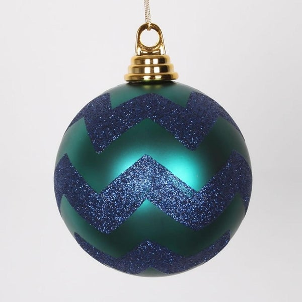 "Teal Green Matte with Sea Blue Glitter Chevron Christmas Ball Ornament 4.75"" (120mm)"