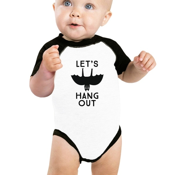 Lets Hang Out Bat Cute First Halloween Halloween Baseball Bodysuit