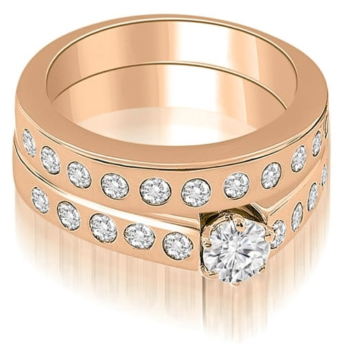 1.55 cttw. 14K Rose Gold Round Cut Diamond Bridal Set