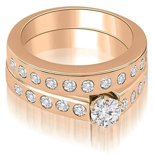 2.05 cttw. 14K Rose Gold Round Cut Diamond Bridal Set