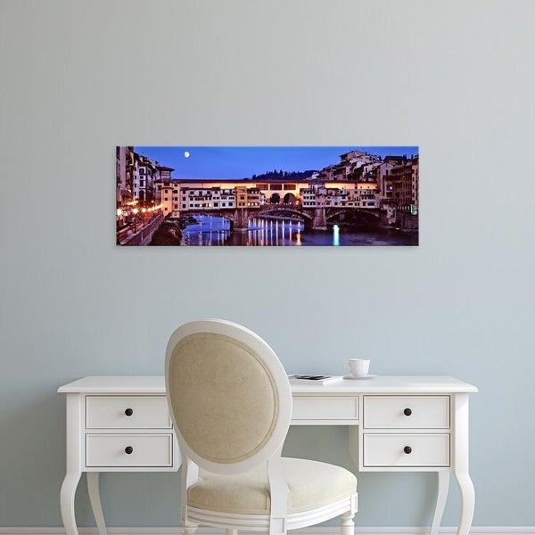 Easy Art Prints Panoramic Image 'Bridge across a river, Arno River, Ponte Vecchio, Florence, Tuscany, Italy' Canvas Art