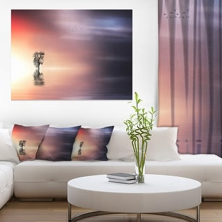 Designart Lonely Tree And Birds Panorama Extra Large Wall Art Landscape Overstock 12209834