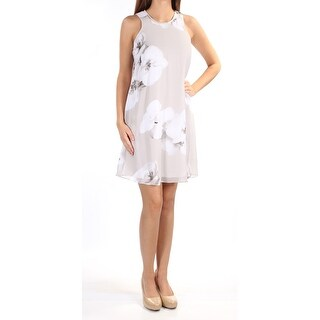 Womens Gray Floral Sleeveless Above The Knee Shift Evening Dress Size: 2