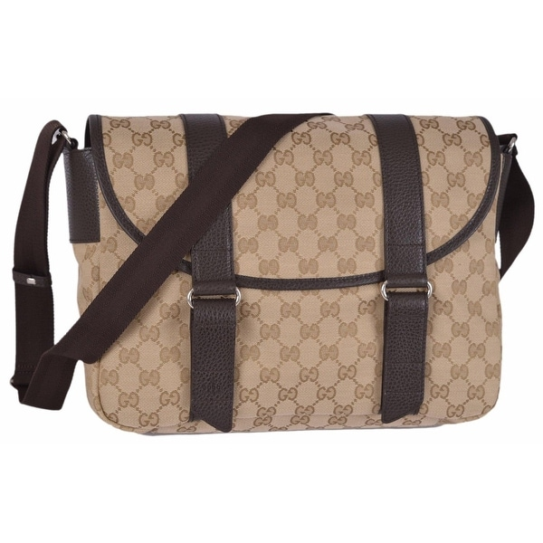 e38ae1bcd4f Shop Gucci Men s 374423 Beige Canvas GG Guccissima Crossbody Messenger Bag  - Free Shipping Today - Overstock - 12192096