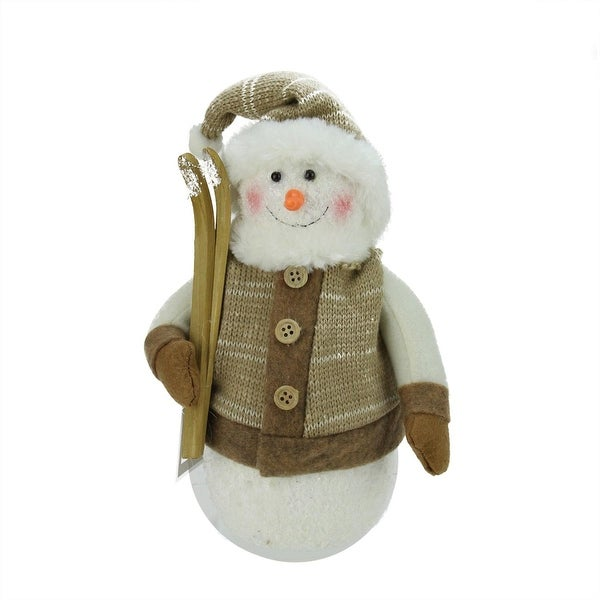 "10"" Alpine Chic Brown and Beige Snowman with Skiis and Mistletoe Christmas Decoration - WHITE"