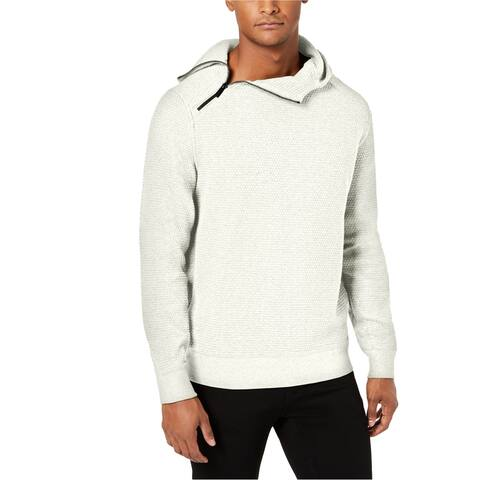 Sean John Mens Pebble Texture Hoodie Sweatshirt, White, Large