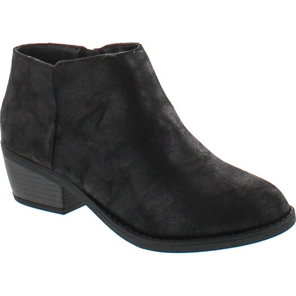 Soda Women's Massen Distress Faux Suede Leather Round Toe Heel Ankle Boot