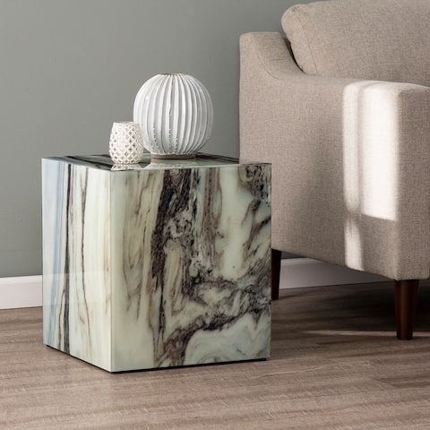 Strick & Bolton Pivenchy Contemporary White Marble Stone Accent Table