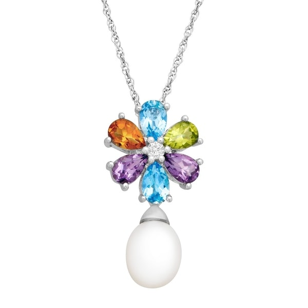 2 5/8 ct Natural Multi-Stone & Freshwater Pearl Floral Drop Pendant Necklace in Sterling Silver