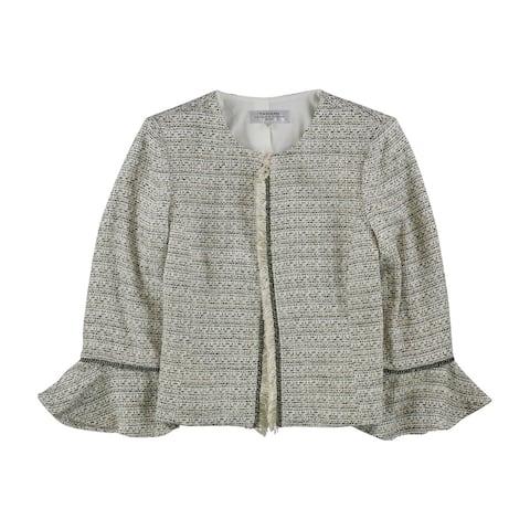 Tahari Womens Fringed Blazer Jacket