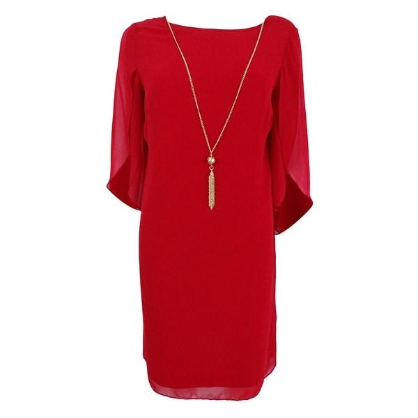 Msk Women's Split Angel-Sleeve Necklace Dress - Red