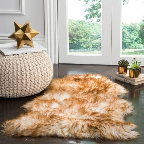 Safavieh Handmade Natural Sheepskin Leanca Shag Solid Rug