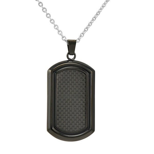Oxford Ivy Men's Black Stainless Steel and Carbon Fiber Dog Tag Necklace on a 22 inch Chain