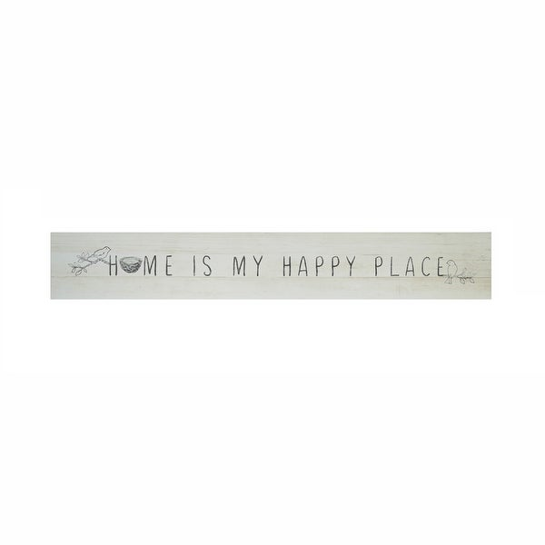 "35.75"" White and Black ""Home Is My Happy Place"" Wall Sign - N/A"