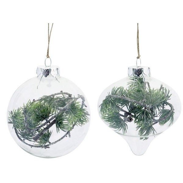 """Club Pack of 12 Clear and Green Pine Branch Hanging Ornaments 3.5"""""""