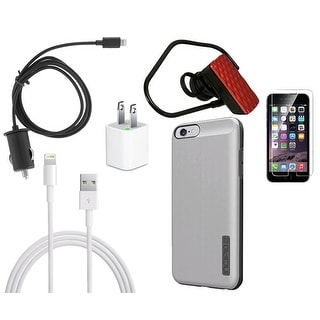 iPhone 6 Plus Bundle - Incipio Case (Silver/Grey), Screen Protector, Car Charger, Bluetooth Headset, Lightening Cable