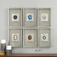 "Set of 6 Colorful Agate Stones in Silver leaf Shadow Box Frames Decorative Wall Art 20"" - multi"
